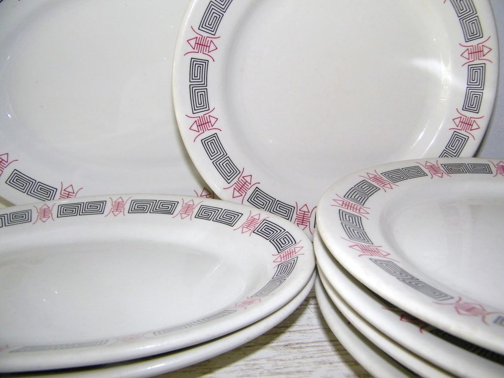 12 Dinner Plates & 3 Serving Platters  Chinese Restaurant Ware
