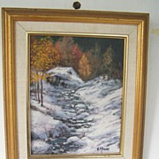 SALE Snow Landscape by Muscat  Original  Signed Acrylic on Canvas
