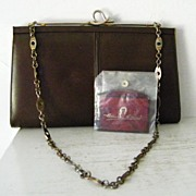 SALE Brown Leather  Shoulder Bag /Clutch  w' Etienne Aigner Mirror