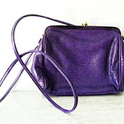 SALE Nordstrom Italian Purple Lizard Shoulder Purse mint!