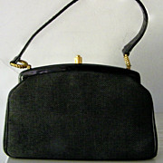 SALE Morris Moskowitz Black Fabric & Patent Handbag w' Coin Purse