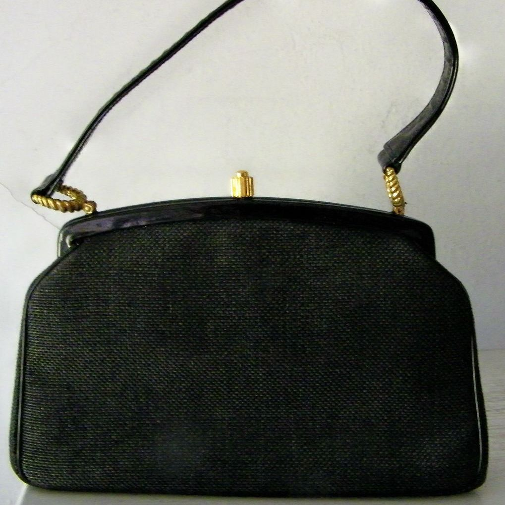 Morris Moskowitz Black Fabric & Patent Handbag w' Coin Purse