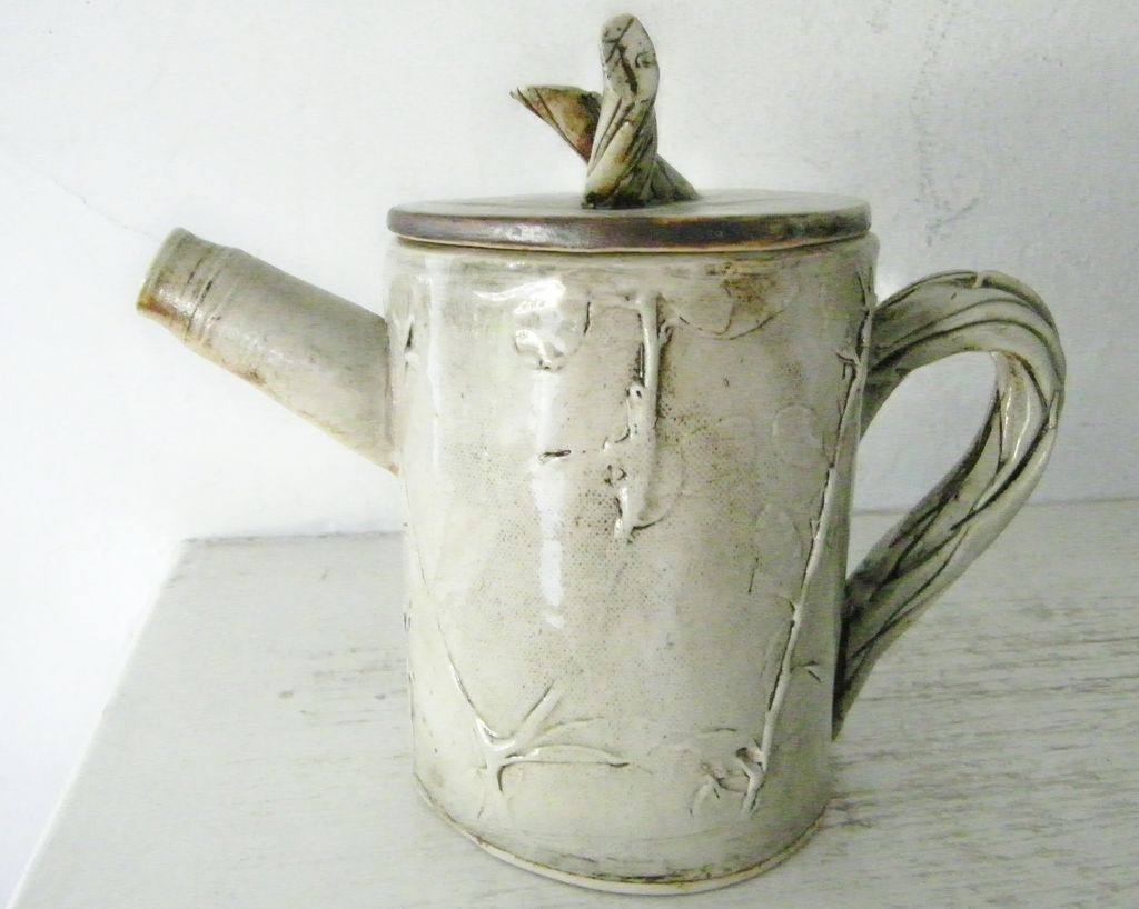 Art Pottery Tea Pot Twig Motif