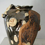 "SALE 9"" Ceramic Vase Tree / Bark  Motif"