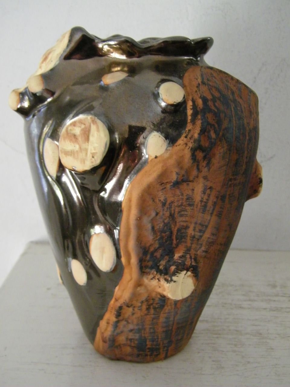 "9"" Ceramic Vase Tree / Bark  Motif"
