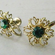 SALE Vintage Green Rhinestone Floral Earrings Screw Back