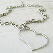 SALE Open Heart Chain Necklace / Lobster Claw Clasp