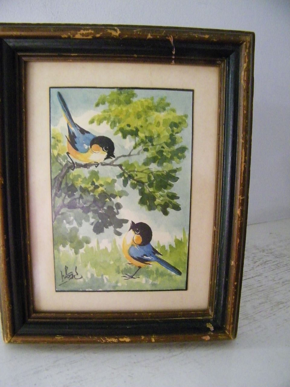 Blue Birds  Framed & Signed Original Watercolor painting