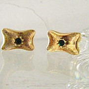 SALE Gold Filled Cufflinks w' Faux Emerald