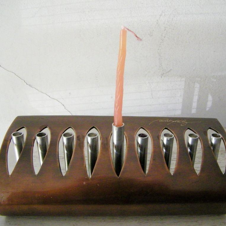 Signed Copper & Steel Modernist Menorah