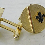 SALE Signed fleur de lis goldtone cuff links