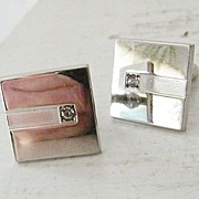 SALE Anson Modern Silvertone Cufflinks with Diamond