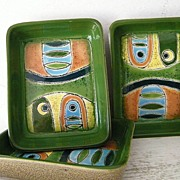 SALE 3 Artesa Hand Painted Abstract Stoneware Trays