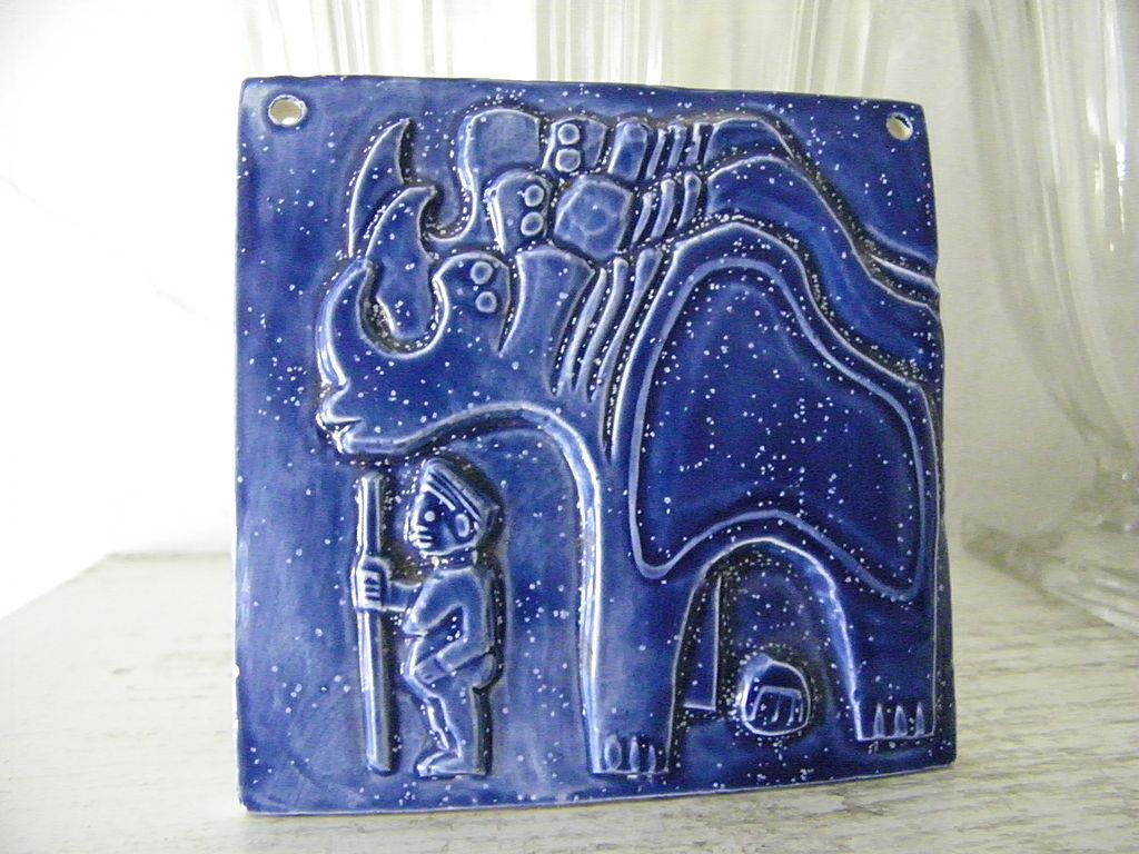 Blue Ceramic Art Tile Dream-like Bas Relief