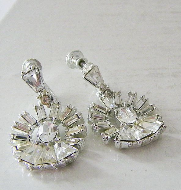 Vintage Rhinestone Dangle Earrings