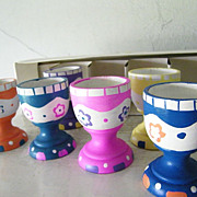 REDUCED Set of 6 Handpainted Wood Egg Cups Mint!