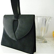 SALE Lennox Black Wool Crepe & Wool Felt Purse w' Swagger Handle
