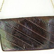 SALE Brown Leather & Snakeskin Clutch convert to Shoulder Bag