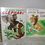SALE Two Little Golden Books about Animals ( Lion & Elephant ) Excellent Cond!