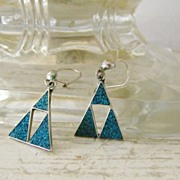 SALE Vintage Taxco Silver & Turquoise  Pierced Earrings