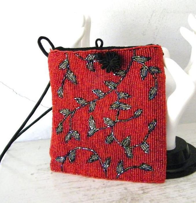 Stunning Glass  Beaded  Silk Evening Purse