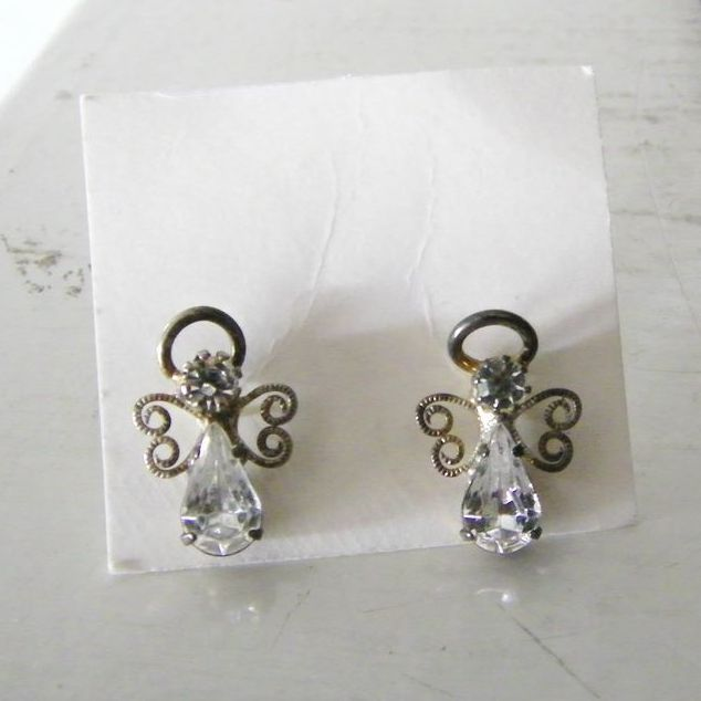 Vintage Rhinestone Angel Earrings