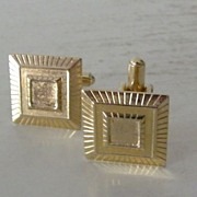 SALE Stylized Square Goldtone Cufflinks