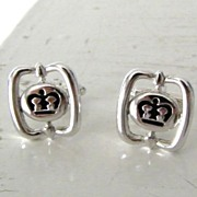 SALE Black & Silvertone Crown Cufflinks