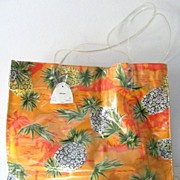 SALE Hawaiian  Sand and Sun Pineapple Cotton & Vinyl Tote New & Mint!