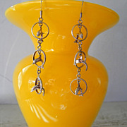 SALE Sterling Silver Dolphin Dangle Earrings 6.4 gram