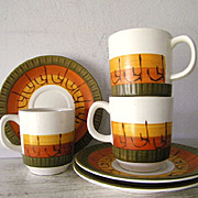 SALE 3 Modern Danish Motif Cups & Saucers circa 1960's