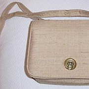 SALE Beige Raw  Silk Shoulder Bag  Mint!