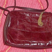 SALE Genuine Red  Leather  Shoulder Bag Embossed Alligator