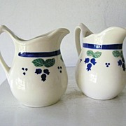 SALE 2 Blueberry Jugs  Restaurantware china SIGNED