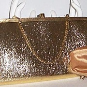 SALE L&M After Five Gold Lame' Purse w' Coin Purse