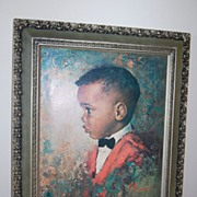 SALE 1970 Black Boy Huge Framed Print ~ Signed M. Runci