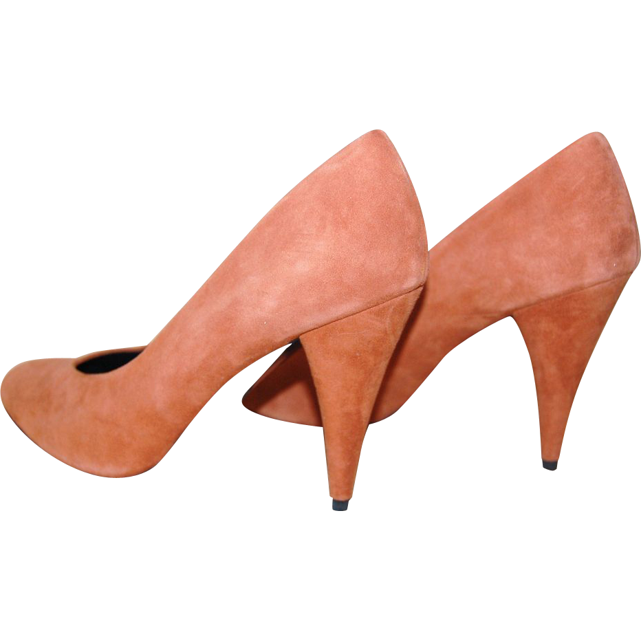 1970/80s Charles Jourdan ~ Copper Brown Suede Heels