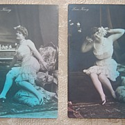 SALE 1900s ~ Lucie Konig ~ Risque German Postcards ~ Set of 2