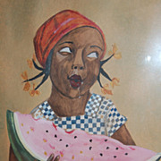 SALE 1931 Little Black Girl Eating Watermelon Naive Painting