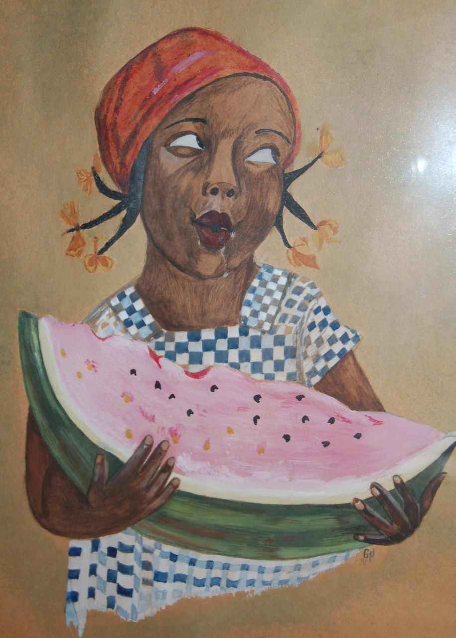 Black Girl Eating Watermelon Painting