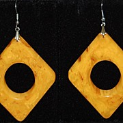 SALE 1960s Huge Marbled Butterscotch Bakelite Earrings