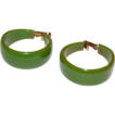 1950s Lime Green Bakelite Chunky Hoop Earrings