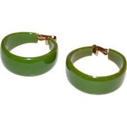 SALE 1950s Lime Green Bakelite Chunky Hoop Earrings