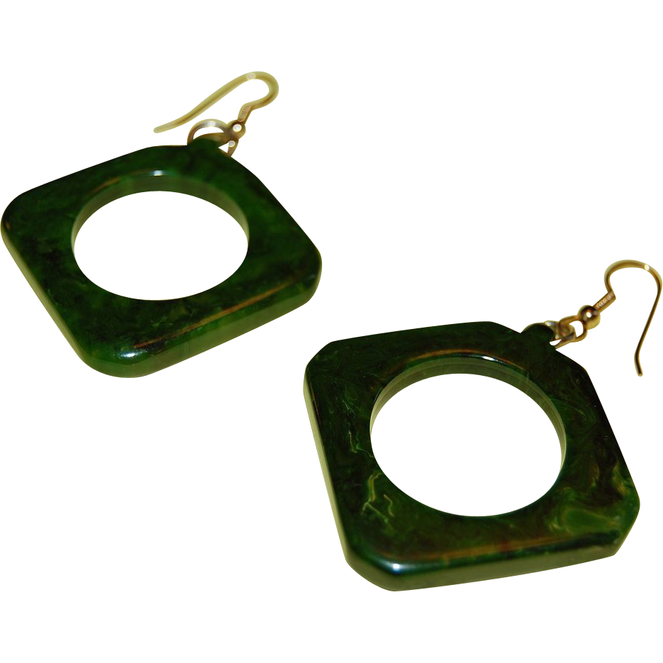 1960s Chunky Marbled Green Bakelite Cut-Out Earrings