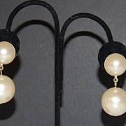 SALE Large Cream Faux Pearl Bauble Pierced Earrings