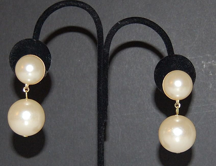 Large Cream Faux Pearl Bauble Pierced Earrings