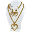 1980s Huge Goldtone Hammered Heart Demi-Parure
