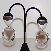 SALE 1980s Bold Polished Silvertone Heart Dangle Earrings