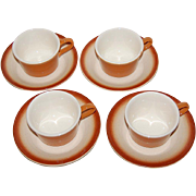 SALE Franciscan ~ Shady Lane ~ 8-Pc Burnt Orange Cup/Saucers