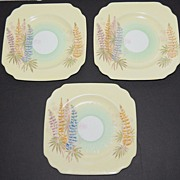 SALE 1930s Old Royal China ~ Yellow Floral Saucers ~ Set of 3